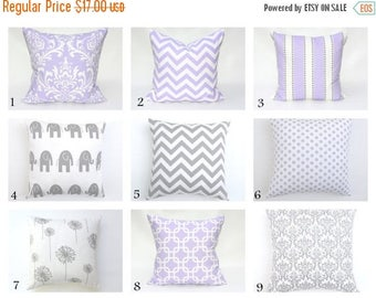 20% OFF SALE Lavender pillow , Lavender and grey decorative pillows , Grey Pillow , Nursery Pillows , Cushions , 20 x 20 ZIPPER Closure