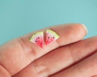 Miniature Watermelon Studs / mini watermelons / watermelon jewelry / summer jewelry/miniature food / mini food /fake food / polymer clay /