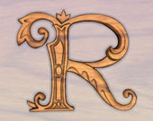 """Wooden Letters for Walls Letter R Hickory Walnut Satin 12"""" x 10"""""""