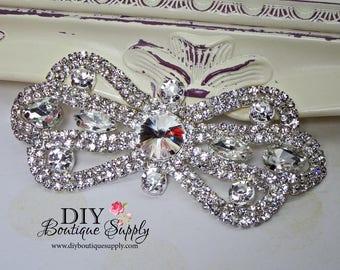 Lovely Rhinestone applique - Crystal Applique bridal wedding garter applique - Flower girl rhinestone Headband Applique Sash Applique N157