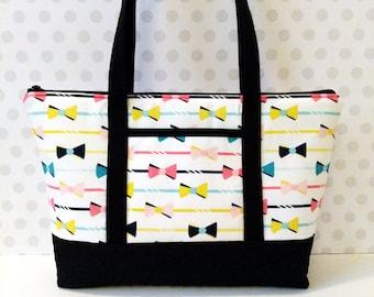 25%OFF Bows Stripes Zipper Tote / Multi Color / New Design