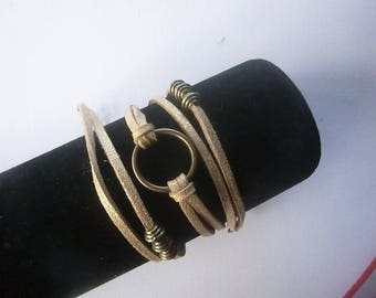 Bronze three towers suede shiny gold, ring and Bead Bracelet