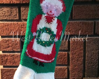 Kit for Vintage Personalized Hand Knit Mrs. Claus Christmas Stocking with 100% Pure Wool