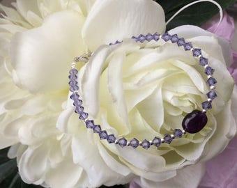 Amethyst and purple Swarovski Crystal for this lovely bracelet
