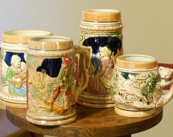 Four Vintage Japanese Raised Relief Nature/Country Mugs