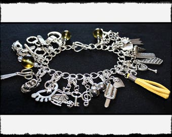 Yellow Charm Bracelet with Flogger / Whip Charm // Fifty Shades of Grey Inspired // BDSM Gift // Cincuenta Sombras