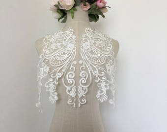 Sequin Lace Applique in Light Ivory For Wedding Dress, Sell By piece