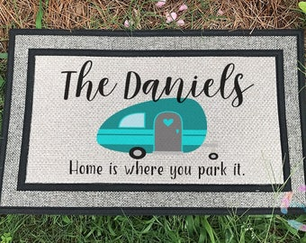 Camper Door Mat, Custom Door Mat, Personalized Door Mat, Camping Mat, RV Door Mat, Vintage Camper, Cute Camping Gift, Housewarming Gift