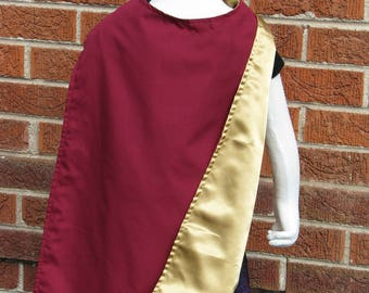 Cape,  Burgundy Cotton and Gold Satin, Vision Inspired