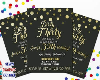 Golden Dirty Thirty  Invitation- Dirty 30 invitation - Adult Gold Dirty 30 Printable Birthday Invitation Evite