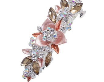 French Barrette with colored metal flowers and crystals