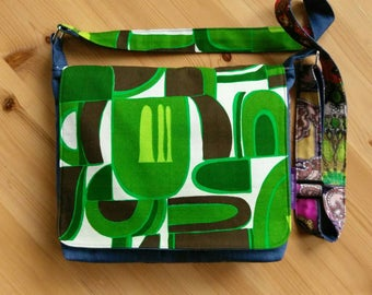 Funky Vintage Fabric Messenger Bag: barkcloth bag, cross body bag, satchel, one of a kind, market bag, upcycled bag, green bag