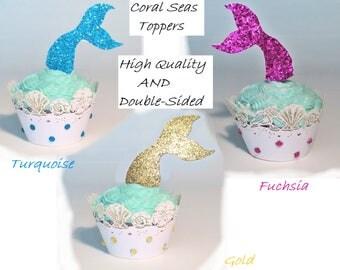 12 Double Mermaid Tail Cupcake Toppers Mermaid Cupcake Toppers OR Seashell Cupcake Wrappers OR Both for Mermaid Party.