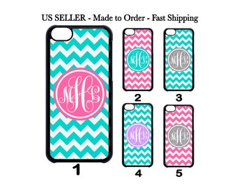 Custom Personalized Chevron monogram Teal Grey Pink Case for iPhone 4 5 SE 5c 6 7 Samsung Galaxy S3 S4 S5 S6 S7 S8 Note 2 3 4 5 ipod 4 5 6