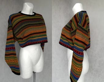 Vintage Crop Pullover, Knit Sweater, Retro Short Sweater, Boxy Short Sweater, 90s Crop Top, Striped Slouchy Top, Small Pullover