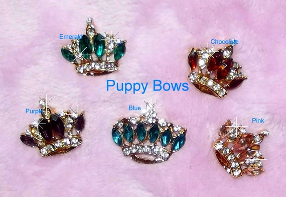 "Puppy Bows ~ TINY TINY 1"" rhinestone crystal crown dog bow  pet hair clip topknot barrette 8 colors!!"
