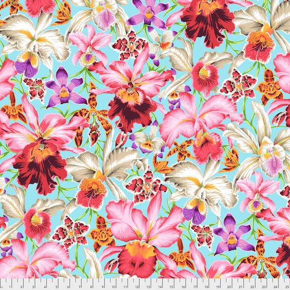 Pre-Order ORCHIDS Natural Philip Jacobs PWPJ092.NATUR Kaffe Fassett Sold in 1/2 yd increments Pre-Order Item