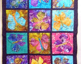 Hand made BATIK BUTTERFLIES throw size quilt...Custom quilted