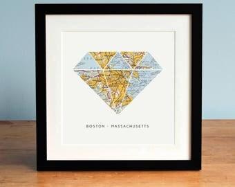 Boston Map Art, Diamond, Boston Art, Map of Boston Massachusetts, Diamond Map Art, Treasure