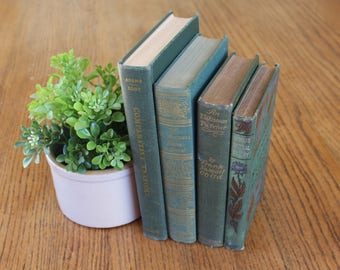 Vintage Green Book Set / Decorative Green Books / Vintage Books / Vintage Book Library / Antique Book Decor / Green Books