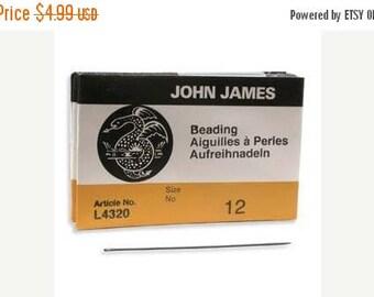 Summer Sale John James Size 12 English Beading Needles Qty 25 Needle for Bead Weaving 12/0, Longs Needles