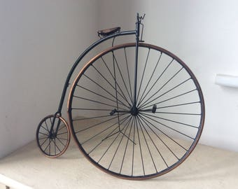 "14.5"" Artisan Made Copper & Wrought Iron Model Penny Farthing"