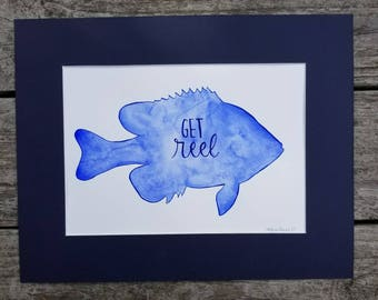 Get Reel - Sunfish Shaped Watercolor Painting