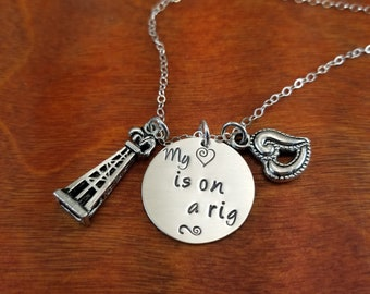 Hand Stamped Personalized Sterling silver oilfield necklace, on a rig, Oilfield wife, Oilfield girlfriend, Roughneck, Oil rig, hitch life