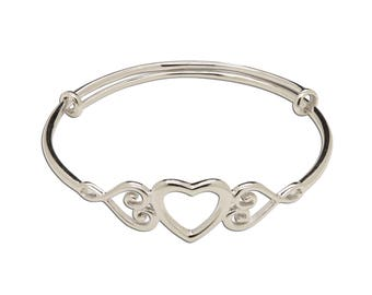 Sterling Silver Adjustable Heart Bangle for Babies and Girls fits 1-8 years  (Adjustable Heart Bangle)