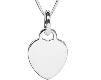 Sterling Silver Engravable Heart Charm Necklace with Gift Box  (BCN-Engravable Heart)