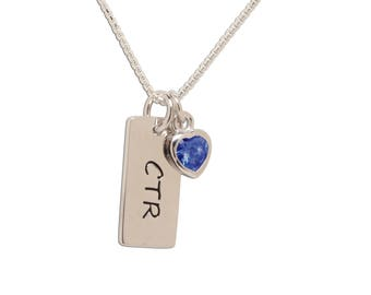 Sterling Silver CTR Birthstone Necklace with CZ Heart Charm,  LDS Baptism or Young Women Gift