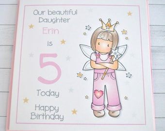 Handmade Personalised Customised Fairy with Attitude Birthday Greeting Card. 1st 2nd 3rd 4th 5th 6th