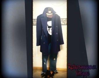 1960's Pendleton Navy Wool Women's Pea Coat, Vintage Hipster Dark Navy Wool Peacoat Size XL 12, Vintage Women's Navy Wool Pea Coat