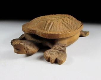 Hand Carved Wooden Turtle Box, Koedo
