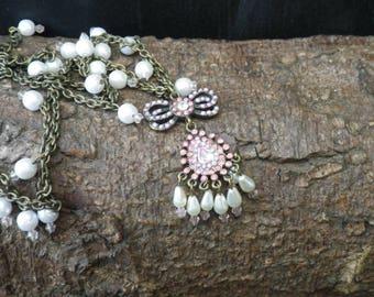 Vintage Bronze Coloured Faux Pearl Pink Purple Drop Bow Pendant Necklace