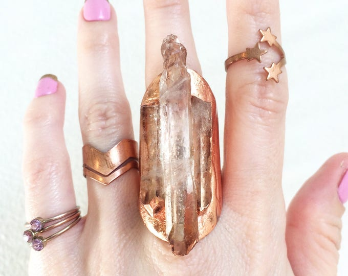 Raw Quartz Crystal Copper Cuff Ring, Size 8