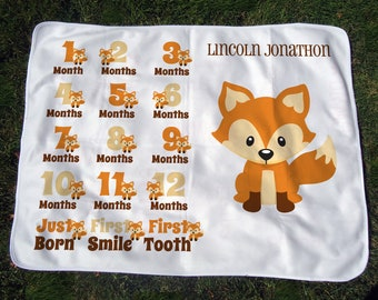 Personalized Monthly Baby Blanket with Foxes - Woodland Fox Growth Chart Blanket - Baby Month Blanket - Baby Photo Prop - Baby Shower Gift