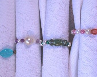 Pearl and Glass Beaded Napkin Rings (set of 8)