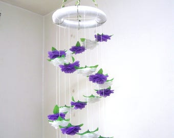 Flower Mobile Nursery,Baby Mobile,Hanging,Girl,Boy,Crib Mobile,Baby Shower decor,Wedding Chandelier,Birthday Gift,Spiral,Ornament,Art,Purple
