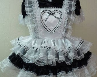 UniKaren Designs Deluxe French Maid Adult Sissy Black Satin White Organza Dress Frilly Ruffly