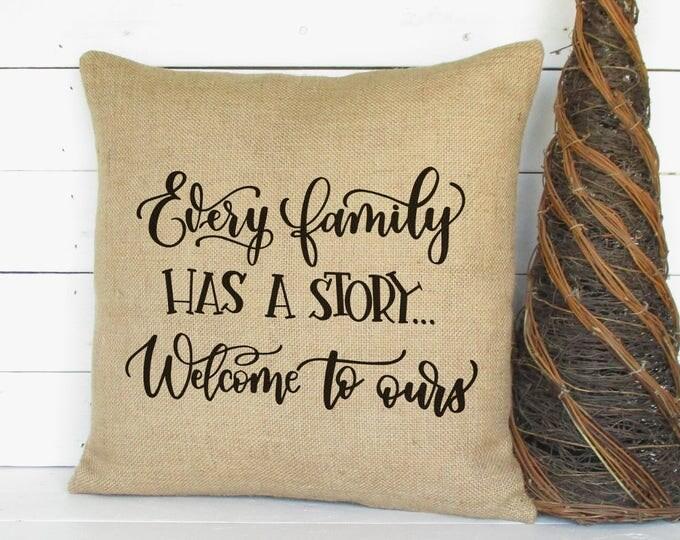 family burlap pillow our story pillow family pillow throw pillow rustic pillow