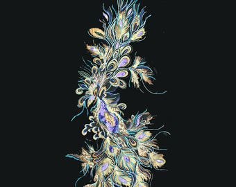 large Phoenix sequins patch applique embroidered fabric applique sew on patches for Stage performance clothing