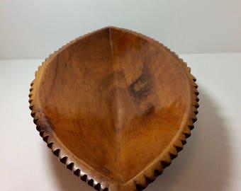 Stunning Vintage Redwood Oblong Bowl