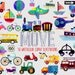 Watercolor Transportation Clipart | Digital Illustrations | On the Move | Car Plane Boat Truck Bikes Bus Traffic Signs Clip Art Graphics