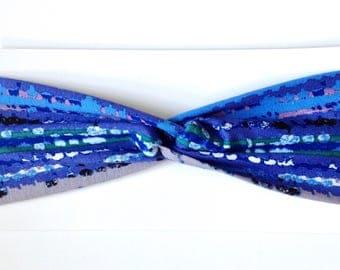 Blue Ikat Cotton Turban Headband