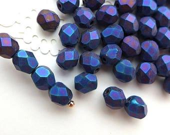 Czech Glass Beads Faceted 6mm - MATTE IRIS BLUE 50pcs