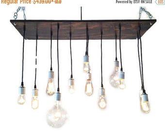 FLASH SALE Rustic Chandelier - Industrial Chandelier, Urban Chandelier, Modern Lighting, Industrial Lighting. Reclaim Wood Chandelier