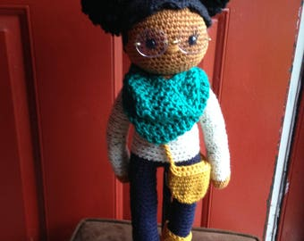 Crochet Doll Pattern, African American Doll, Doll with Afro Puffs