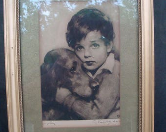 Vintage Framed Print John Knowles Hare Etching Boy With Dog Signed Sympathy Print Retriever Spaniel Puppy And Child In Wood Frame