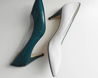 the other side ~ green and white pumps